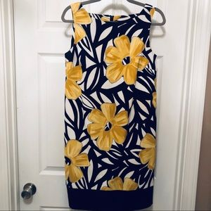 ABG Dress 10 Floral Yellow Black A-line Tailored